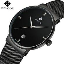 WWOOR Black Steel Mens Watches Quartz Waterproof Business Clock Male Wristwatch Brand Luxury Men Sports Watch relogio masculino
