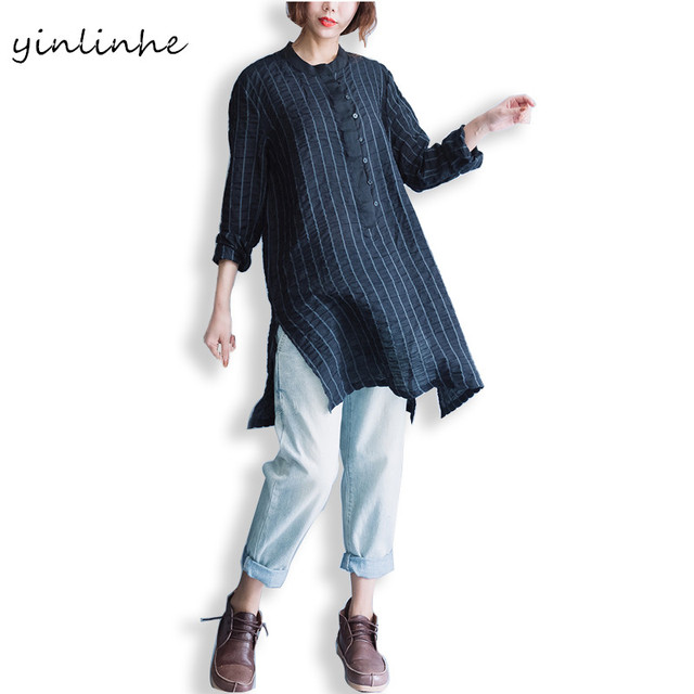 d5ef4c9bc168d6 yinlinhe Women Loose Striped Black Shirt Cotton And Linen Long Sleeve  Female Blouse Causal Tunics Ladies Tops Big Size 151