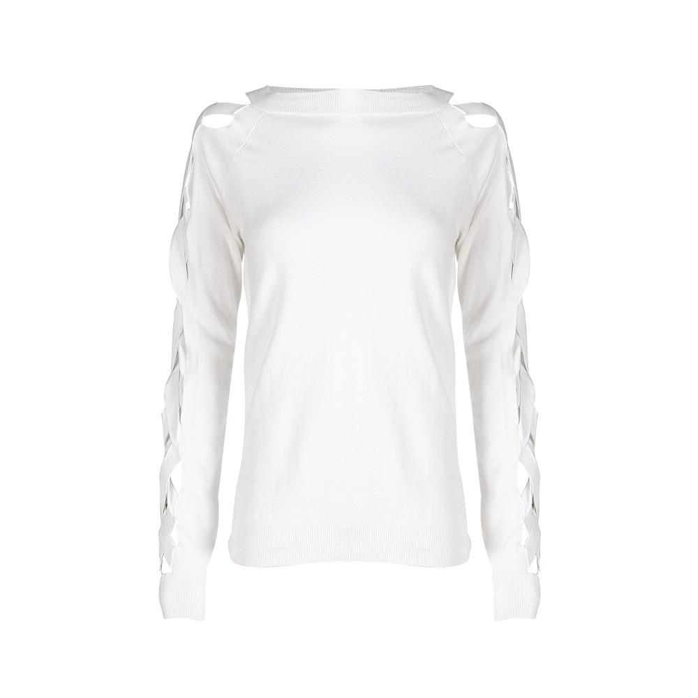 White lattice sleeve O neck sweater for women autumn slim fit rib ...