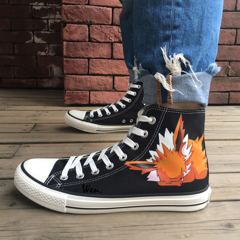 Wen Black Design Custom Hand Painted Shoes Fox Pokemon Pocket Monster Jolteon Anime High Top Men Women's Canvas Sneakers anime shoes girls boys converse all star pokemon go dewgong sea lion design hand painted high top canvas sneakers men women