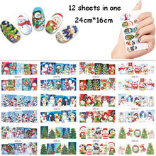 12 Sheet/Lot Christmas Nail Water Stickers Santa Adhesive Art Beauty Tips Decals DIY Decorations BN6