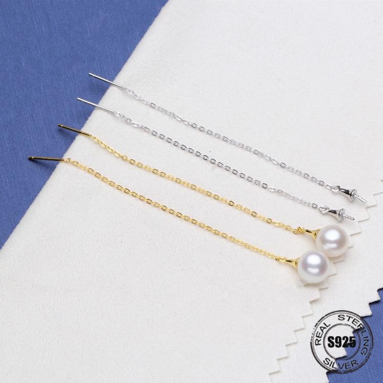 Boucles d'oreilles en perles d'eau douce naturelles S925 en argent Sterling longues boucles d'oreilles en perles bijoux pour femmes