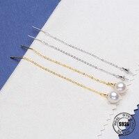 Natural Freshwater Pearl earrings S925 Sterling Silver long Drop Earrings Pearl Jewelry For Women