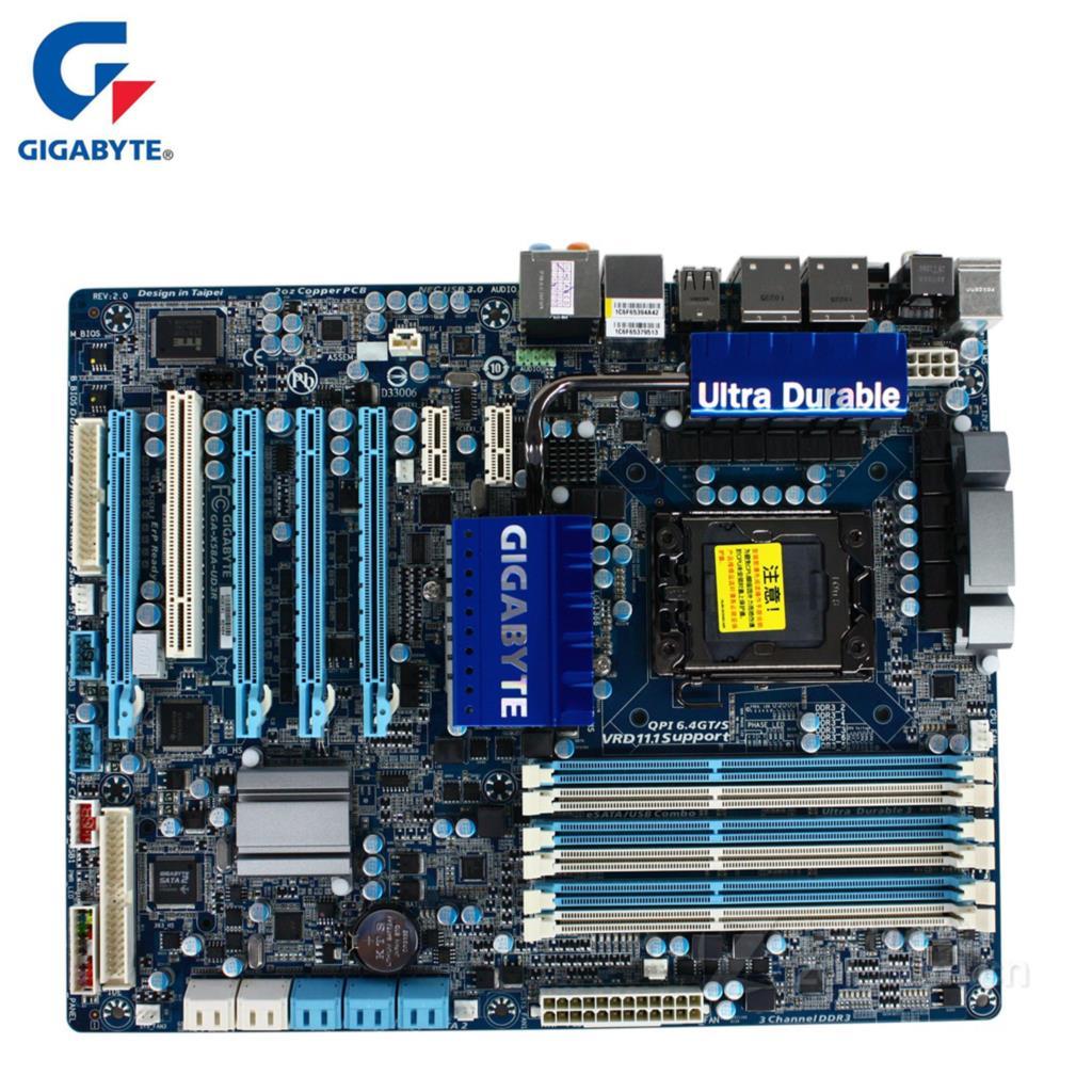 Gigabyte GA-X58A-UD3R Carte Mère Pour Intel X58 DDR3 USB3.0 24 gb SATA III LGA 1366 X58A UD3R De Bureau Carte Mère Systemboard Utilisé