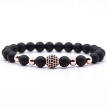 2019 Trendy Couple Jewelry Matte Stone 8mm bead bracelet CZ ball Charm Bracelets For women Men Pulseira