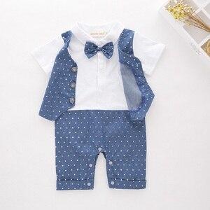 Image 2 - Blue Dot Baby Boys Rompers Tuxedo Gentleman Costume Baby Jumpsuits Jacket Vest Cotton Boy Clothes Outfits Newborn Evening Dress