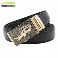 GUIZUE Cowhide Belt For Men Genuine Leather Belts Crocodile Pattern Design High Quality Brand Male Luxury
