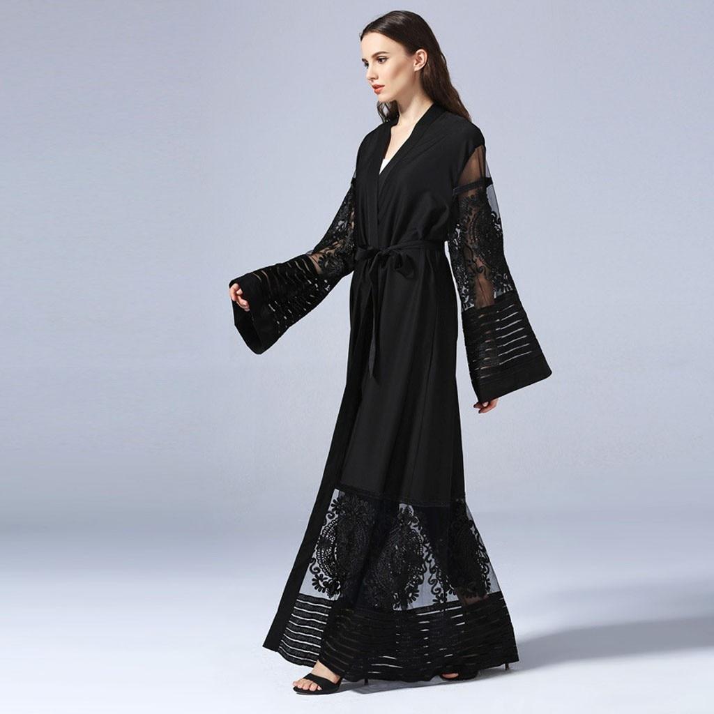 2019 New Fashion Women Muslim Cardigan Women Ethnic Robes Abaya Islamic Muslim Middle East Maxi Dress Bandage Kaftan Z416