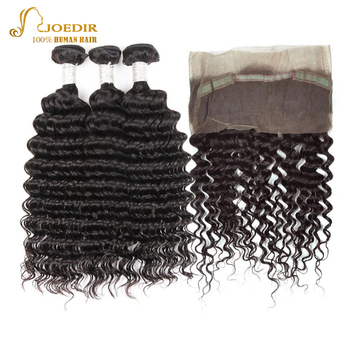 Joedir Hair Brazilian Deep Wave Human Hair Weave Bundles With Frontal 360 Lace Frontal Closure With Bundles Non Remy image