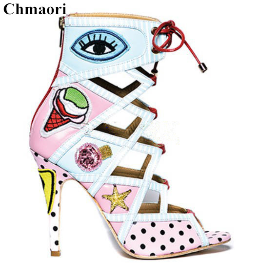 2018 Hot Selling Eyes&Ice-cream Print Stiletto High Heels Dress Party Shoes Woman Open Toe Back Zipper Gladiator Sandals Boots tribal print u back bodycon dress