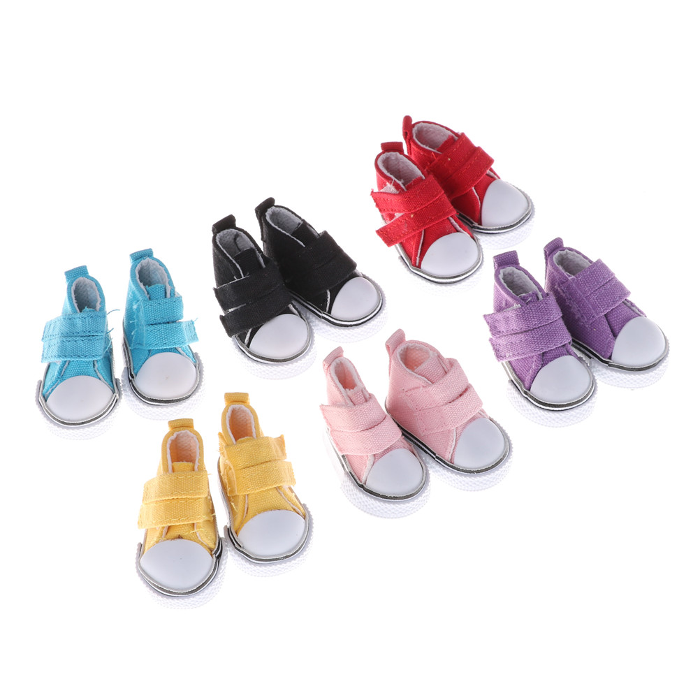 One Pair Assorted 6 Color 5cm Canvas Shoes For   Doll Fashion Mini Toy Shoes Sneaker For   Doll Shoes For Russian Doll