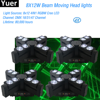 цена на 4Pcs/Lot Moving Head Beam Wash DJ Lights LED 8X12W RGBW 4IN1 Professional Moving Head Stage Light DMX512 For Party Disco Lights