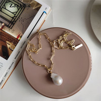 ZJSVER Fine Jewelry 925 Sterling Silver Necklace Irregular Pearl Pendant Fashion Golden Women Chain Necklace For Present