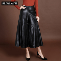 2019 High Quality Luxury Women Ankle Length Trousers Genuine Leather High Waist Wide Leg Pants Loose Streetwear Pantalones Mujer