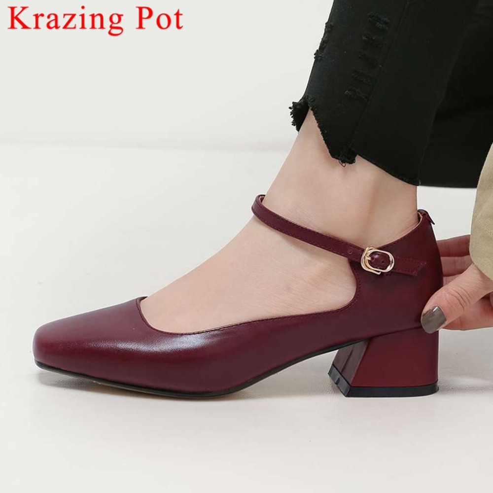 2019 hot salling chunky med heels buckle strap classic square toe vintage preppy style exclusive design