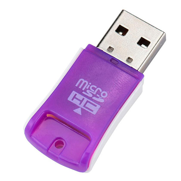 High Quality Card Reader Purple Mini USB 2.0 High Speed Micro SD TF T-Flash Memory Card Reader Adapter For Computer L1026#2