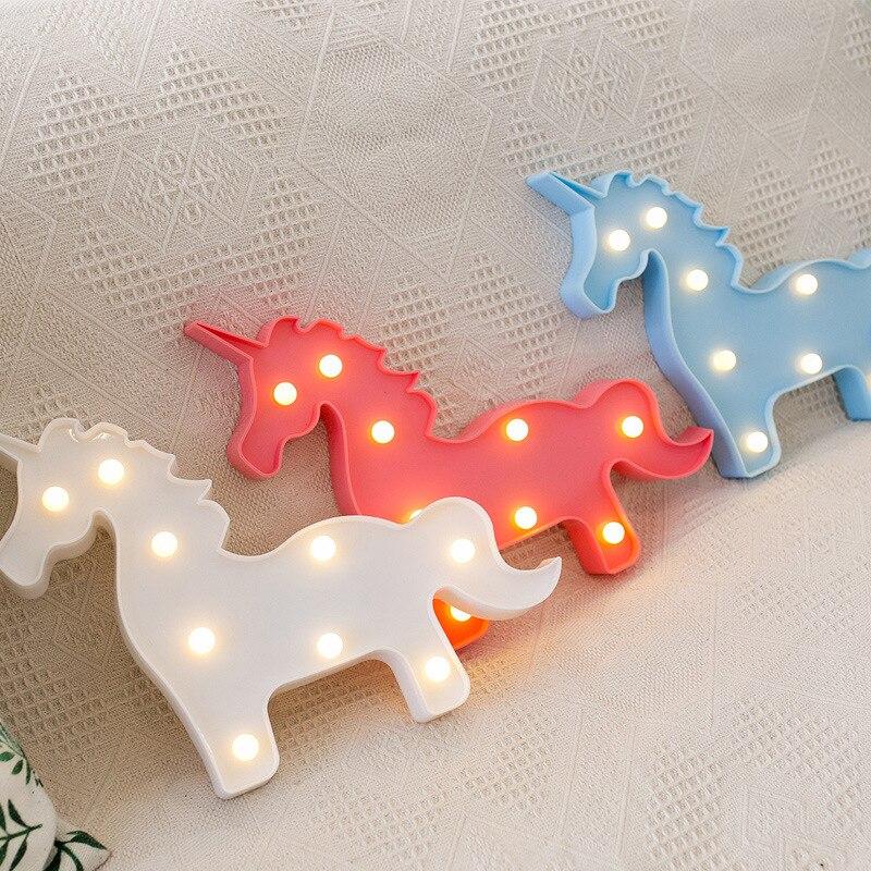 Cute Small LED Night Light Bedroom Unicorn Shape Light Home ...
