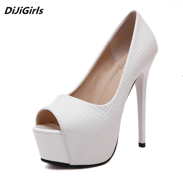 Discounted Women Open Toe Pumps Top Platform Stilettos 14 cm Heel High Heels Ladies Wedding White Shoes Red Bottom Small Size