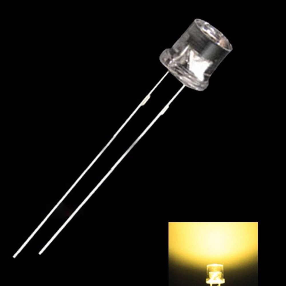 50PCS 5MM 2Pin Flat Yellow LED Wide Angle Flat Head Light Lamp