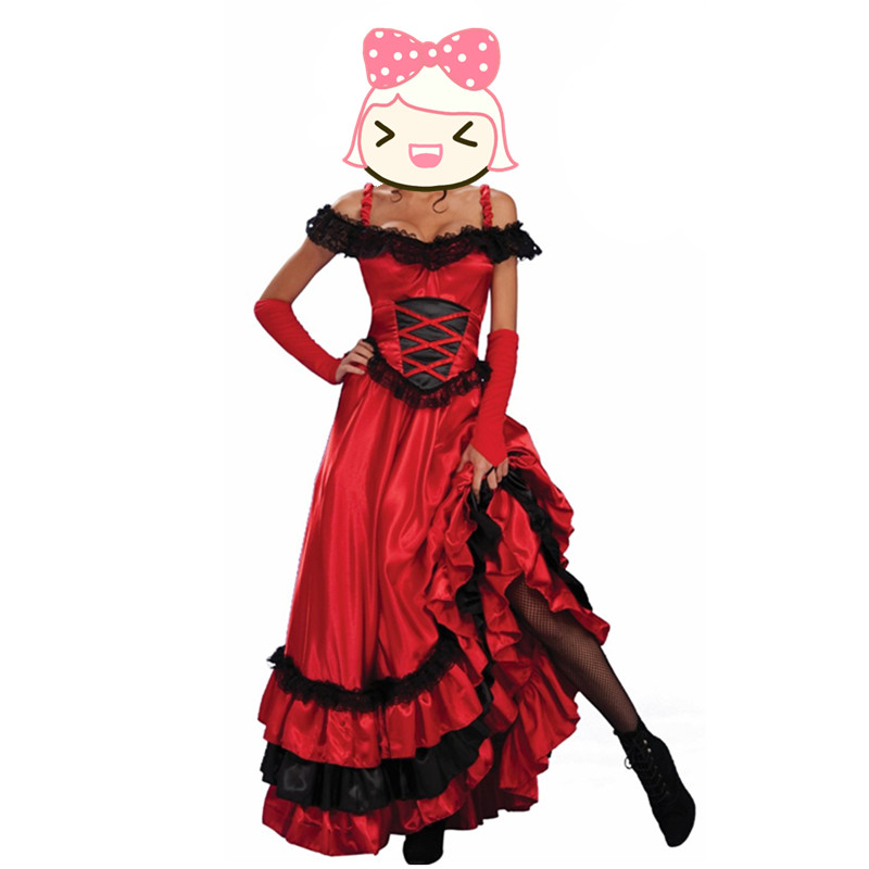 Wholesale Fashion Female Red Saloon Girl Western Costume Womens