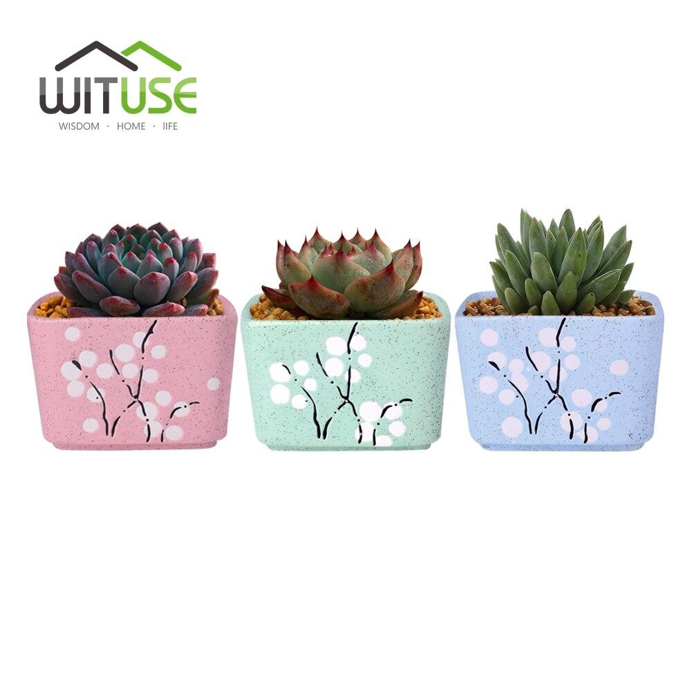 WITUSE 3x Plum Blossom Round Square Glazed Ceramic Plant Flower Pot Succulent Pot Flower Bonsai Garden Home Office Decor Planter