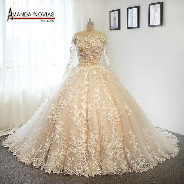 Luxury Flowers Wedding Dresses 2017 Real Pictures Amanda Novias Bridal Dress