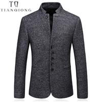 TIAN QIONG Men Wool Blazer Designs Stand Collar Blazer Masculino Slim Fit Korean Fashion Business Formal Casual Suit Jacket