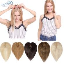 SEGO 10 дюймов 6*9 см прямые волосы Топпер парик для женщин волосы штук не Реми человеческие волосы индийские волосы 110% плотность чистый цвет