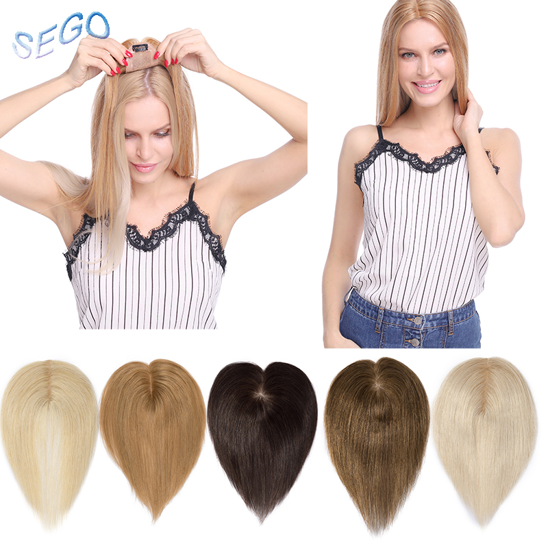 SEGO 10 Inches 6*9cm Straight Hair Topper Toupee For Women Hair Pieces Non-remy Human Hair Indian Hair 110% Density Pure Color