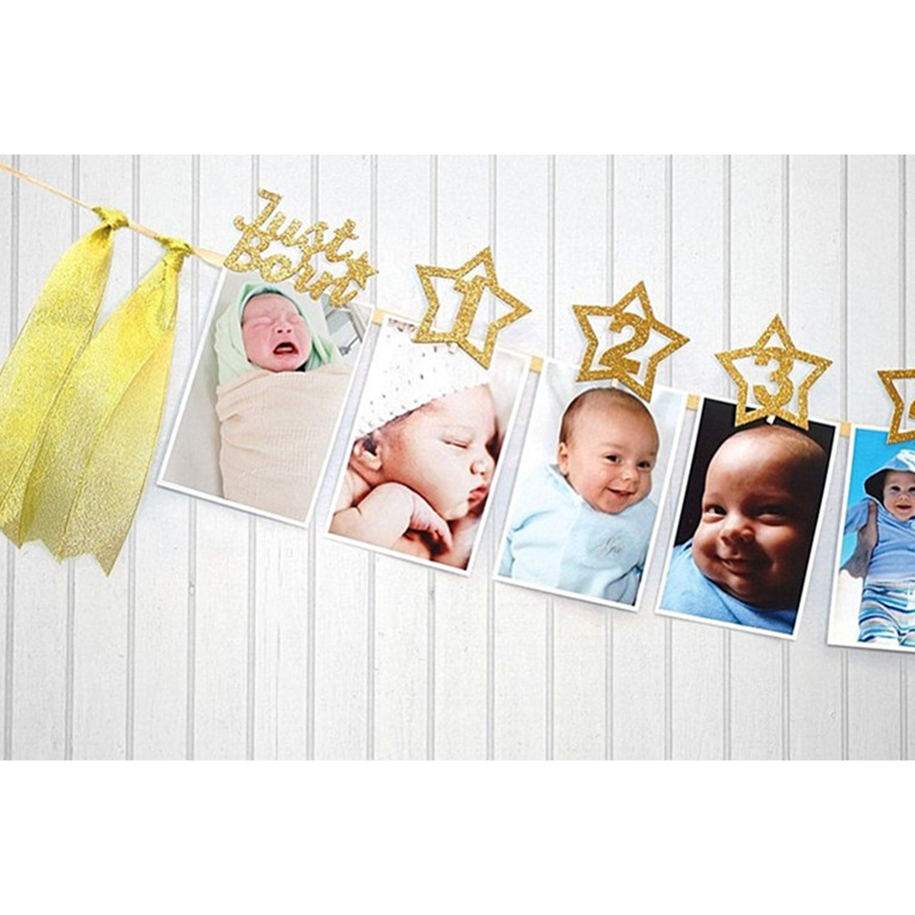 12 Months Birthday Baby Photo Banner For Newborn Photograph Baby Photo Bunting Garland Hanging Strings Decor Baby Party Supplies Aliexpress