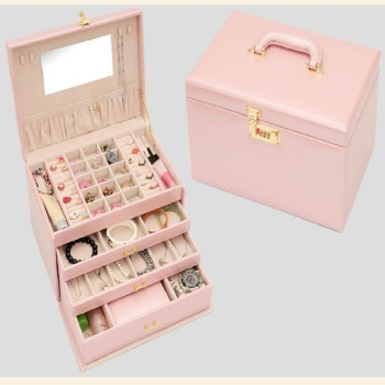Shelf packing gift box smooth pink leather jewelry box