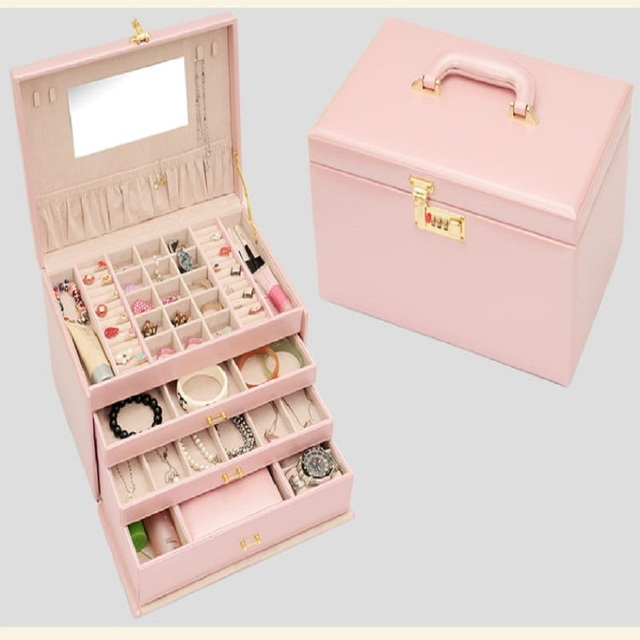 watch box earrings necklace pendant jewelry organizer jewelry display shelf packing gift box smooth pink leather