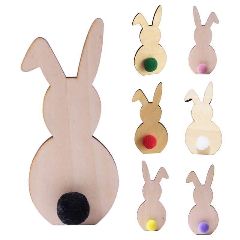 1pcs Ins Nordic Style Wooden Rabbit Ornaments Children's Room Decoration Wood Craft Kids Safe Natural Toys Photography Props