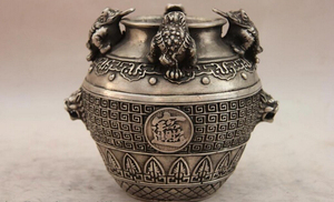 Elegant old S1551 China White Copper Silver Golden toad Money bufonid Foo Dog Lion Head Jar Pot A0403