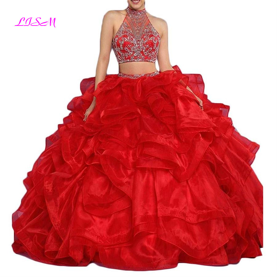 2018 Hot Sale Red Long Quinceanera Dresses Two Pieces Prom Beaded Ball Gown Organza Tiered vestidos de 15 anos Quinceanera Gown