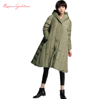 2017 Winter women 's fashion white duck down jacket red casual women' s down jacket long large size Girl down jacket