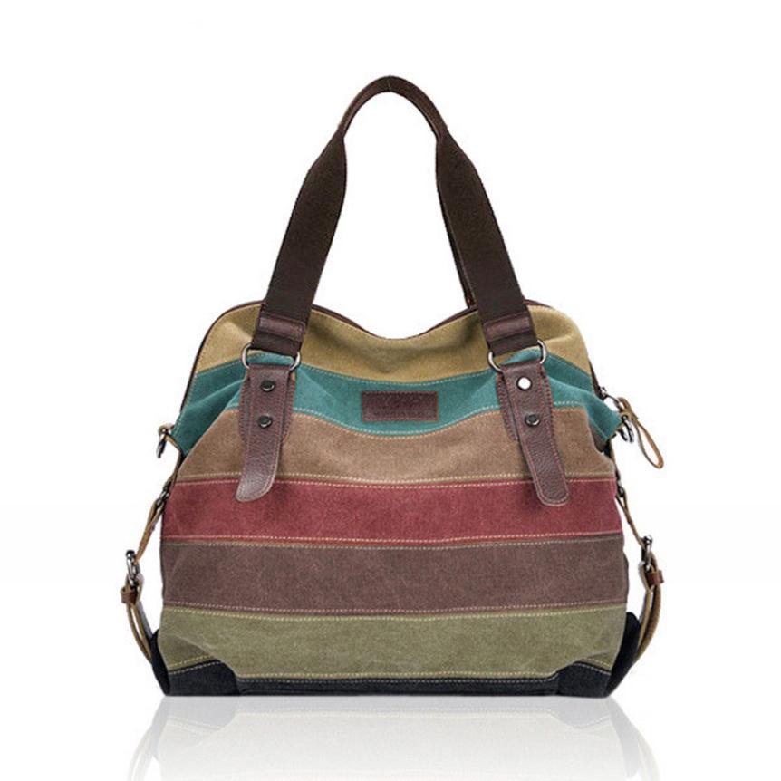 Bag Handbag Canvas Striped Bag Ladies Vintage Contrast Color Hobo Bags Bolsa Handbag 18Mar27