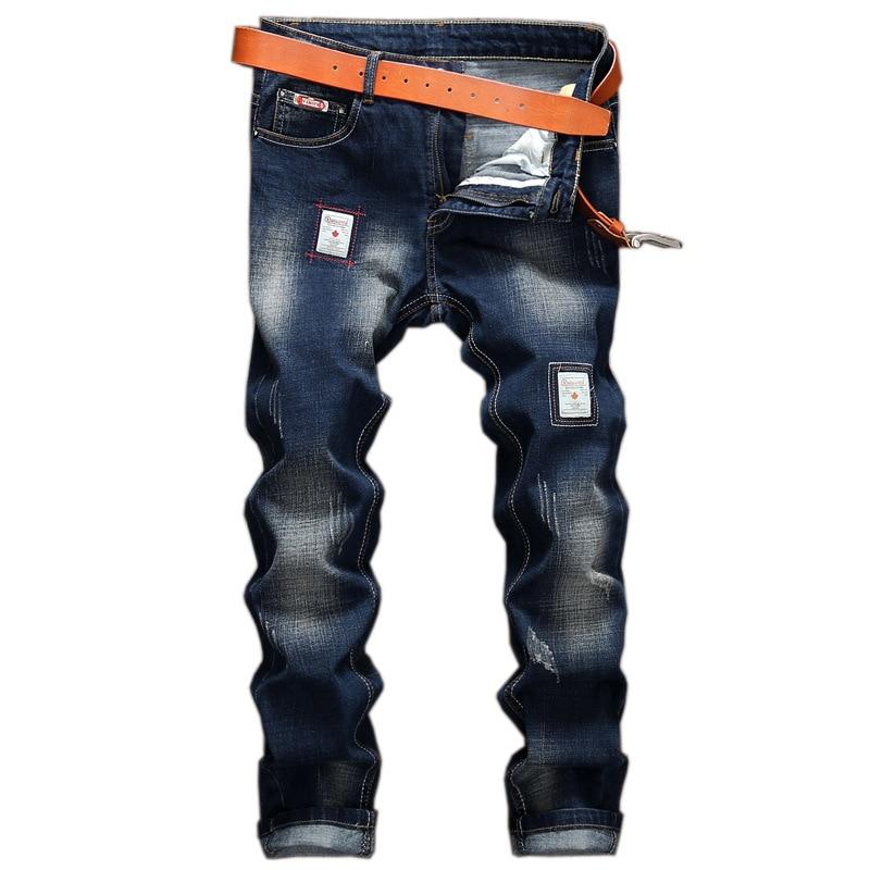 Для мужчин модные байкерские джинсы Рваные джинсовые Тонкий мотоцикла брюки мужские классические Rap в стиле хип-хоп Узкие повседневные зим...