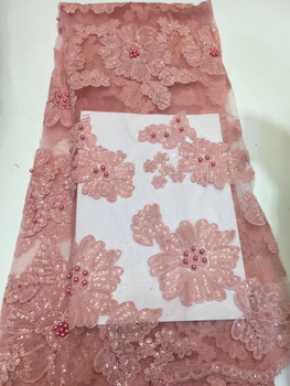 high quality french tulle lace fabric African sequins net lace glitter fabric with beads in pink for wedding dress ZX3265