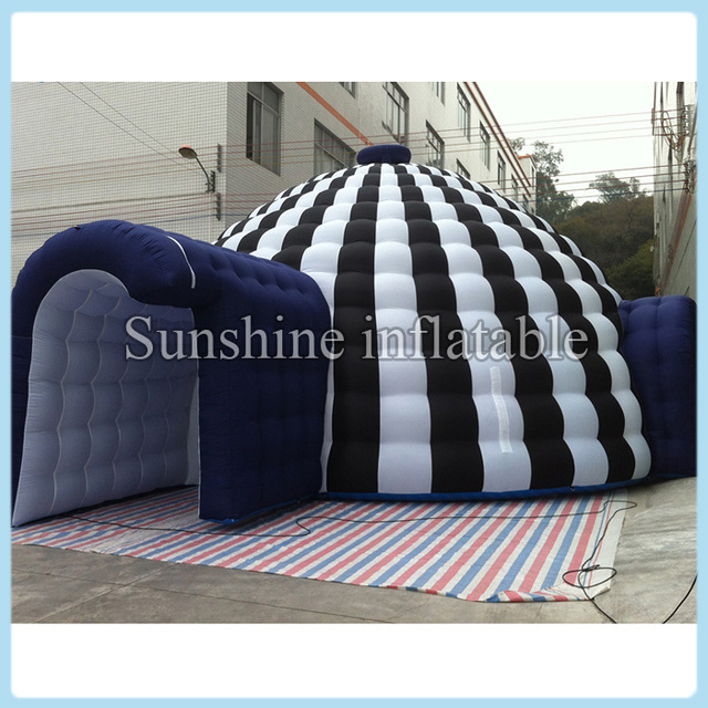 New designed portable white and black marquee giant inflatable igloo dome tent with tunnel entrances for & New designed portable white and black marquee giant inflatable ...