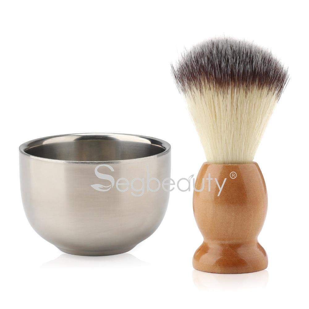 <font><b>Beard</b></font> Lather Brush, <font><b>Beard</b></font> <font><b>Shaving</b></font> <font><b>Soap</b></font> <font><b>Bowl</b></font>, Nylon Bristles Hair Natural Crude Wood Handle Brush Stainless Steel <font><b>Cream</b></font> <font><b>Bowl</b></font>