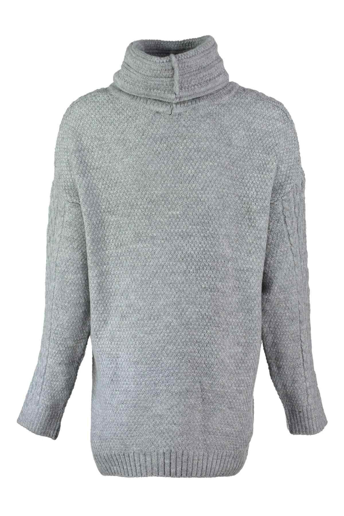 Trendyol WOMEN-Gray Neckline Lacing Detaylı Knitwear Sweater TWOAW20NV0016