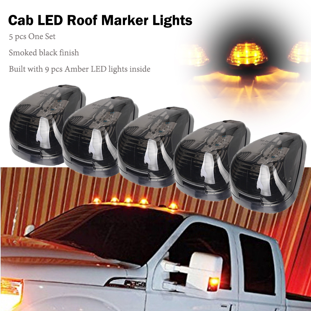 5 Pcs Smoke Cab Marker Top Roof Light Assembly For 1999-2016 Ford F-250 F-350