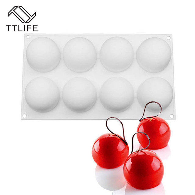 TTLIFE 8-Round Ball Shape Pillow Silicone Mold Chocolate Mousse Cake Mold Jelly Pudding Confectionery Baking Tools 1