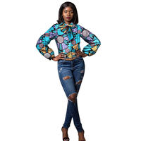 African Clothes Dashiki Casual O neck Women Blouse Plus Size African Clothes For Women Batik Full Sleeve African Clothing