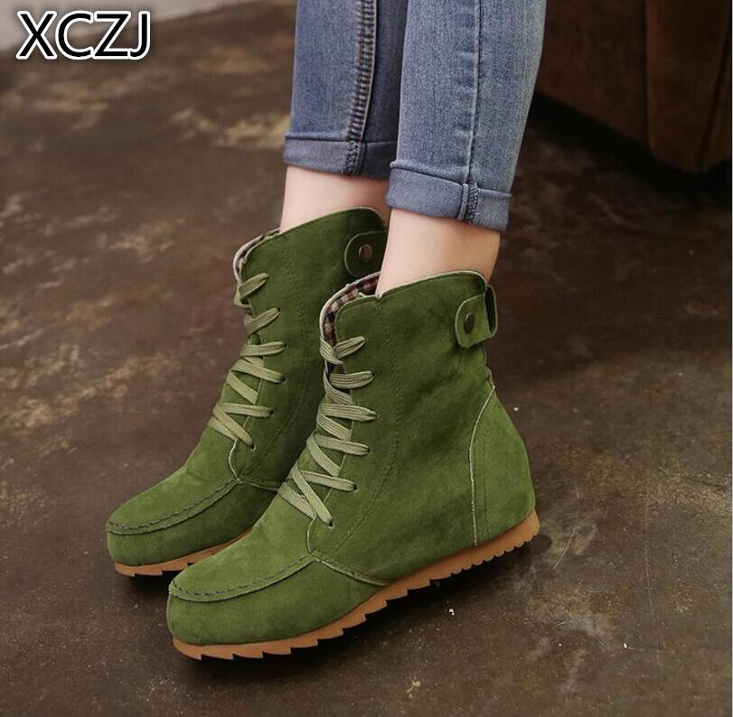 XCZJ 2019 Large size womens boots Autumn and winter New Martin Boots Womens boots Low-barrel Flat Casual shoes 35-43XCZJ 2019 Large size womens boots Autumn and winter New Martin Boots Womens boots Low-barrel Flat Casual shoes 35-43