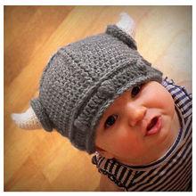 2015 Новый Детей baby Newbornbaby Младенческой Крючком Hat Викинг Рога Шляпа Вязаная Шапка Шапочка