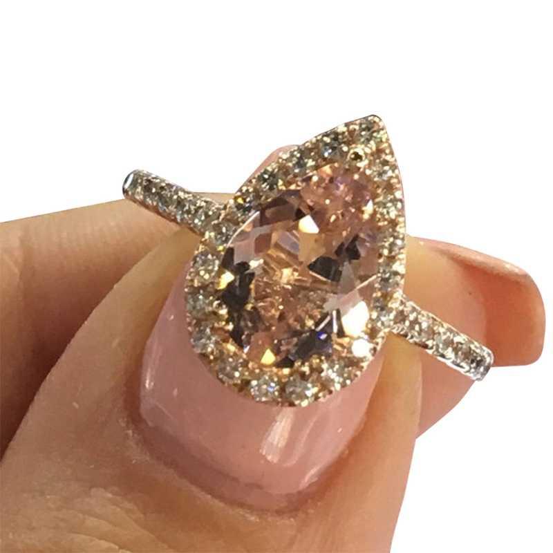 ต่างหูแฟชั่น Cubic Zirconia สีชมพูแหวนคริสตัลน้ำ Drop Pear รูปร่างแหวนหญิงงานแต่งงานอุปกรณ์เสริมเครื่องประดับ