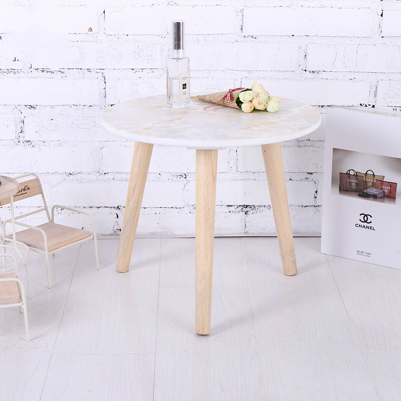 Marble Solid Wood Small Tea Table, Creative Small Round Table, Simple Living Room Sofa Table coffee table simple modern creative small coffee table round folding tea table small size living room wood tea table