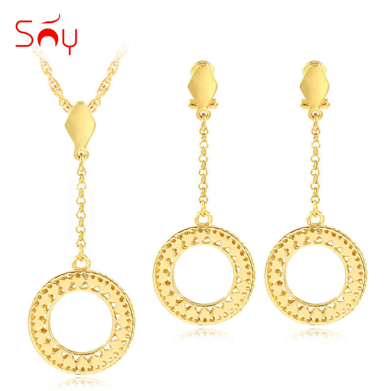 Sunny Jewelry Fashion Jewelry 2019 For Women Necklace Earrings Pendant Statement Luxury Jewelry Sets Round Hollow Star For Party
